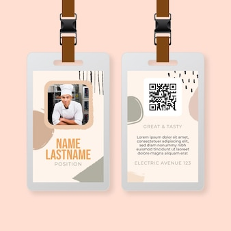 Modelo de cartão de identificação de restaurante de comida brunch de domingo