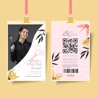 Modelo de cartão de identificação de salão de beleza