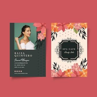 Modelo de cartão de identificação de salão de moda de beleza
