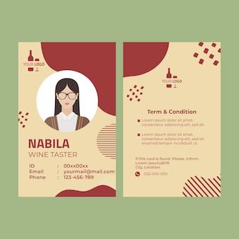 Modelo de cartão de identificação de vinho
