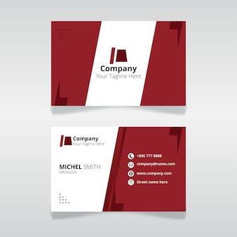 Modelo de cartão de identificação editável para organização e funcionário com cor vermelha
