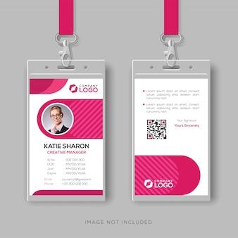 Modelo de cartão de identificação elegante com detalhes rosa