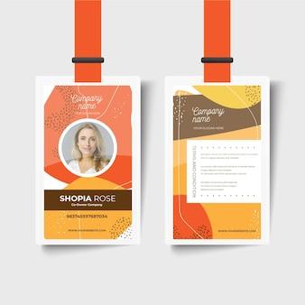 Modelo de cartão de identificação frente e verso da empresa
