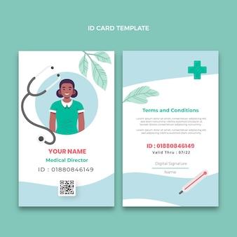 Modelo de cartão de identificação médica desenhado à mão