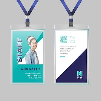 Modelo de cartão de identificação mínimo com foto