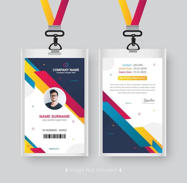 Modelo de cartão de identificação moderno com design abstrato gradiente