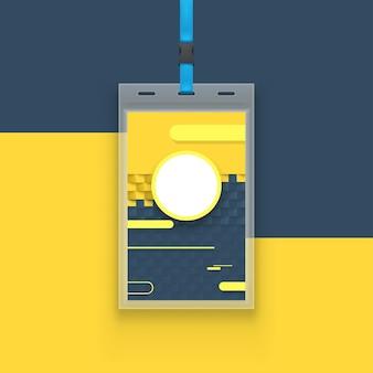 Modelo de cartão de identificação moderno laminado amarelo azul com sombra