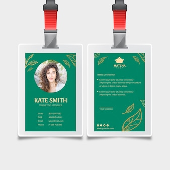 Modelo de cartão de identificação para chá matcha