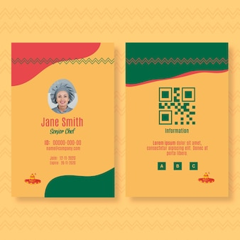 Modelo de cartão de identificação para restaurante de comida mexicana