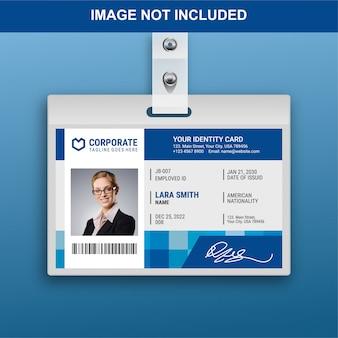 Modelo de cartão de identificação plana