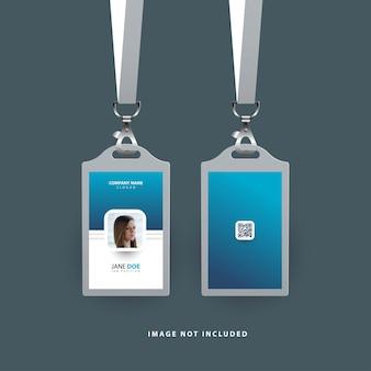 Modelo de cartão de identificação simples com gradiente de cor azul