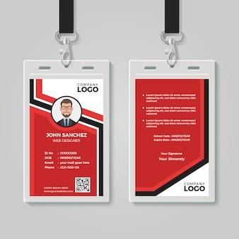 Modelo de cartão de identificação vermelho moderno