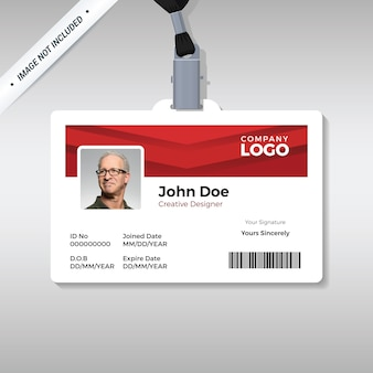 Modelo de cartão de identificação vermelho simples e limpo