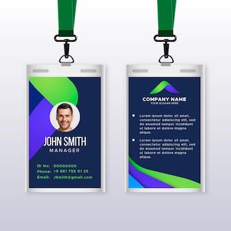 Modelo de cartão de identificação vertical abstrato com foto