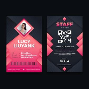 Modelo de cartão de identificação vertical frente e verso com foto