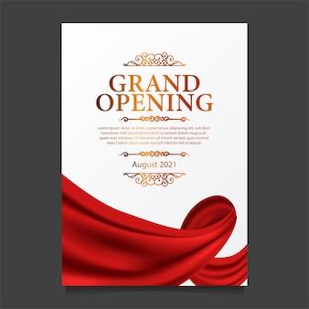 Modelo de cartão de inauguração com ilustração de seda de cortina vermelha