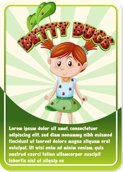 Modelo de cartão de jogo de personagem com a palavra betty bugs