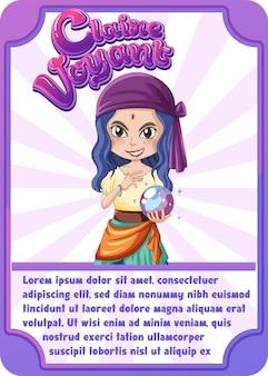 Modelo de cartão de jogo de personagem com a palavra claire voyant