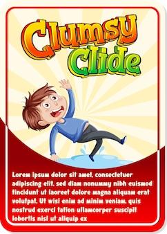 Modelo de cartão de jogo de personagem com a palavra clumsy clide