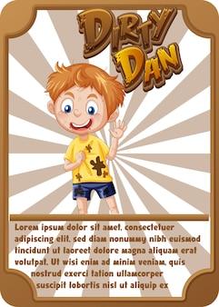 Modelo de cartão de jogo de personagem com a palavra dirty dan