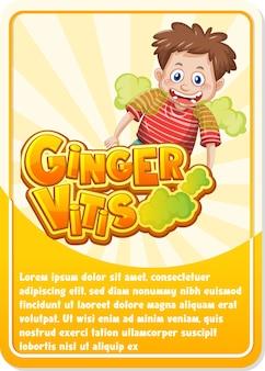 Modelo de cartão de jogo de personagem com a palavra ginger vitis