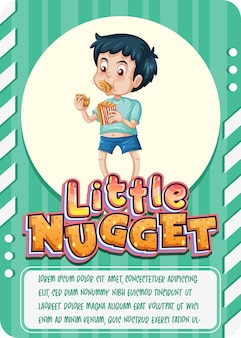 Modelo de cartão de jogo de personagem com a palavra little nugget