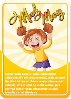 Modelo de cartão de jogo de personagem com a palavra mad mary