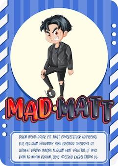 Modelo de cartão de jogo de personagem com a palavra mad matt