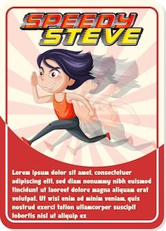 Modelo de cartão de jogo de personagem com a palavra speedy sam