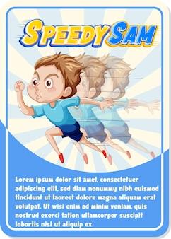 Modelo de cartão de jogo de personagem com a palavra steve speedy