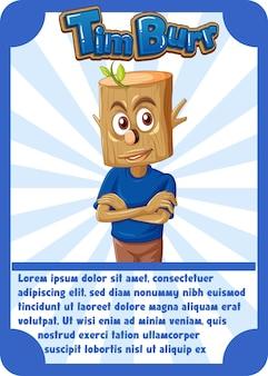 Modelo de cartão de jogo de personagem com a palavra timburr
