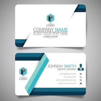 Modelo de cartão de layout de azul e branco.