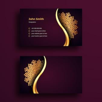 Modelo de cartão de luury com luxo mandala ornamentais