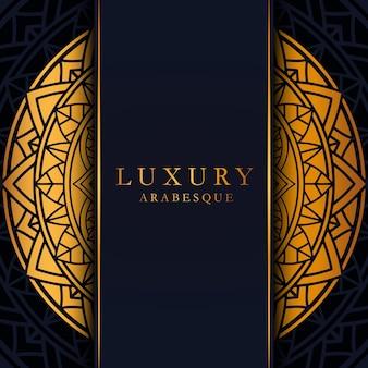 Modelo de cartão de luxo com mandala geométrica dourada