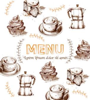 Modelo de cartão de menu bebidas e bolos