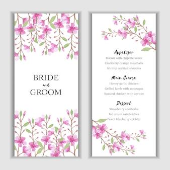 Modelo de cartão de menu com decoração aquarela flor rosa
