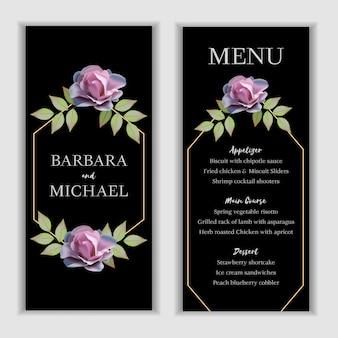 Modelo de cartão de menu de casamento floral