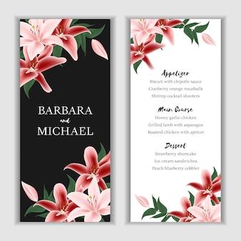 Modelo de cartão de menu floral lírio