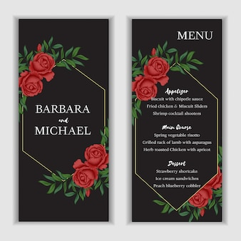 Modelo de cartão de menu floral rosa vermelha