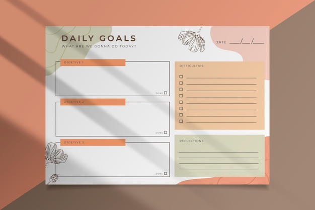 Modelo de cartão de metas diárias