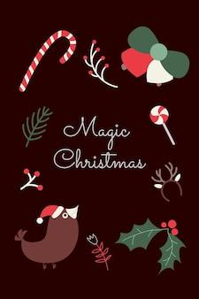Modelo de cartão de natal com elementos escandinavos aconchegantes vetor de cartaz de feliz ano novo