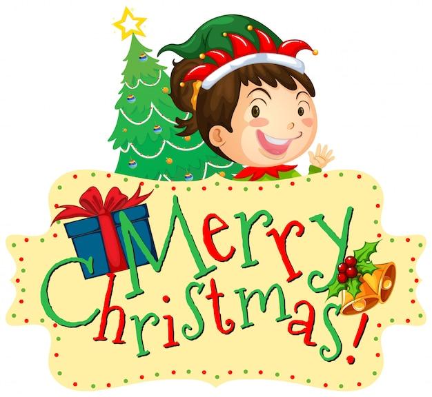 Modelo de cartão de natal com garota e árvore