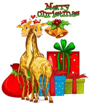 Modelo de cartão de natal com girafas e presentes