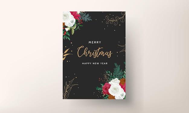 Modelo de cartão de natal com lindas flores e folhas douradas