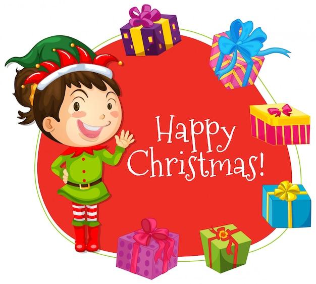 Modelo de cartão de natal com menina e presentes