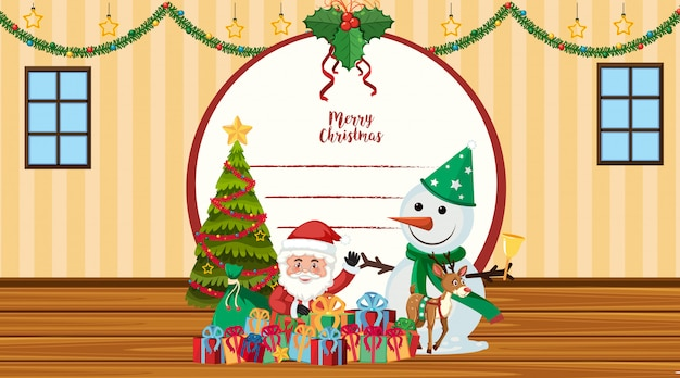 Modelo de cartão de natal com papai noel e boneco de neve