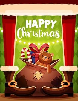 Modelo de cartão de natal com papai noel e presentes.