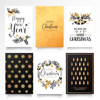 Modelo de cartão de natal decorativo com ornamentos de ouro