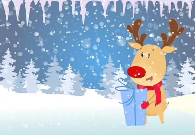 Modelo de cartão de natal e ano novo rena, segurando, presente