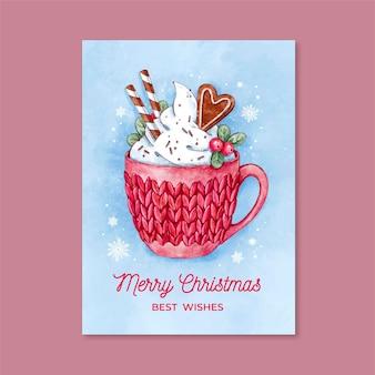 Modelo de cartão de natal em aquarela